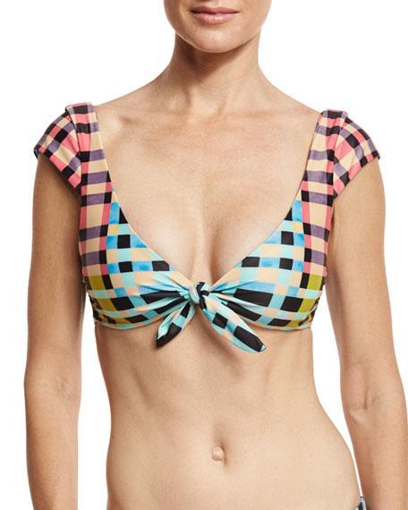 Mara Hoffman Tile-Print Cap-Sleeve Tie-Front Swim Top, Multicolor In Multi Pattern