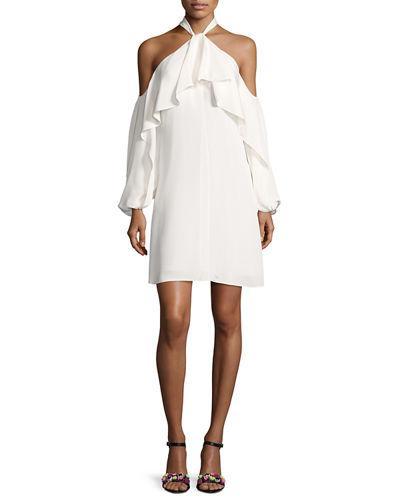 Kobi Halperin Janella Silk Cold-Shoulder Ruffle Cocktail Dress In Ivory