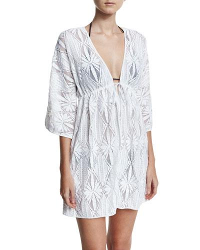 Milly Ava Floral Crochet Coverup Dress, White