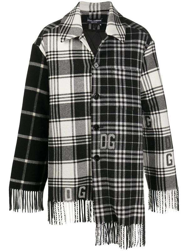 Dolce & Gabbana Quilted Wool Tartan Jacket With Dg Logo In Black