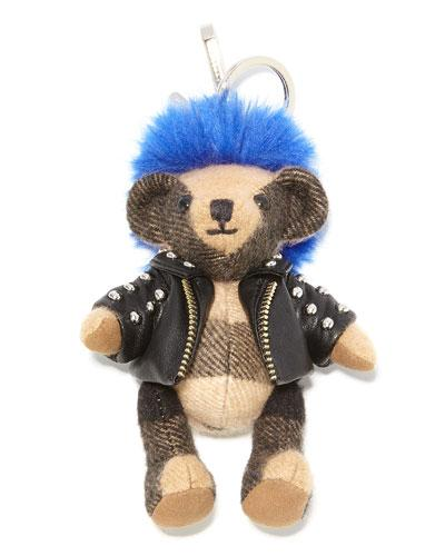 Burberry Thomas Punk Check Teddy Bear Purse Charm, Camel