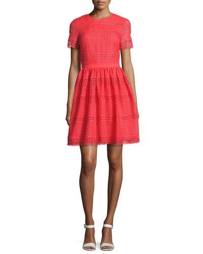 Michael Michael Kors Short-Sleeve Graphic Striped Eyelet Dress, Pink