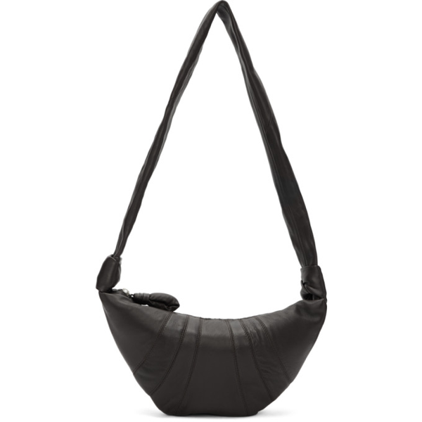 Lemaire Black Large Lambskin Croissant Bag In 490 Drkchoc