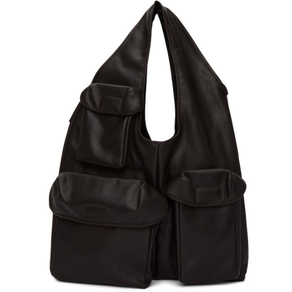 Lemaire Brown Reporter Bag In 481 Midnigh