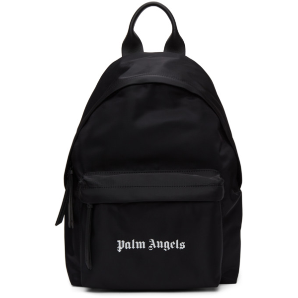 Palm Angels Logo-print Woven Backpack In Black White
