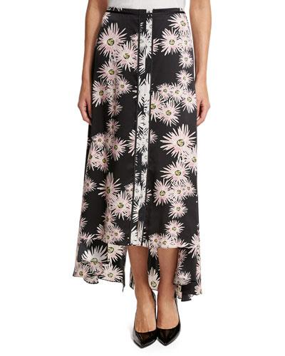 Elizabeth And James Mae Floral High-Low Midi Skirt, Black/Multicolor In Black Pattern