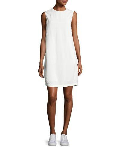 Helmut Lang Sleeveless Crepe Apron-Front Shift Dress, Off White