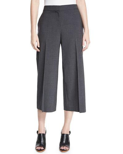 Kobi Halperin Skylar Tropical Wool-Blend Cropped Pants, Gray Melange, Grey Melan In Grey Melange