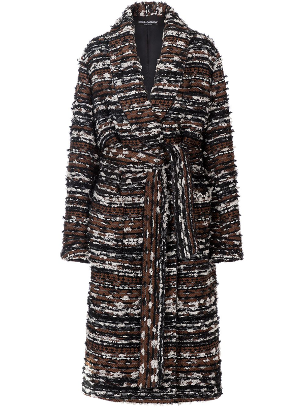 Dolce & Gabbana Robe-style Jacket In Tweed With Belt In Brown
