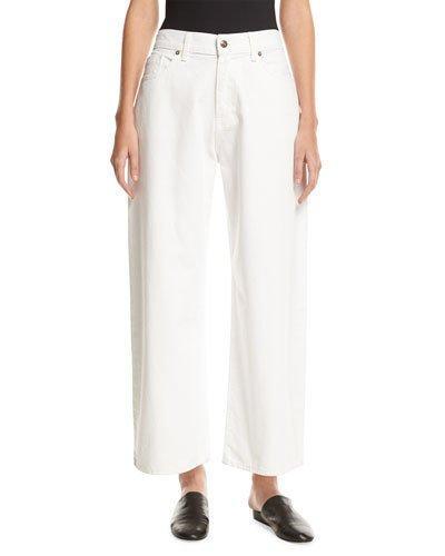 Vince Wide-Leg Low-Waist Jeans, White