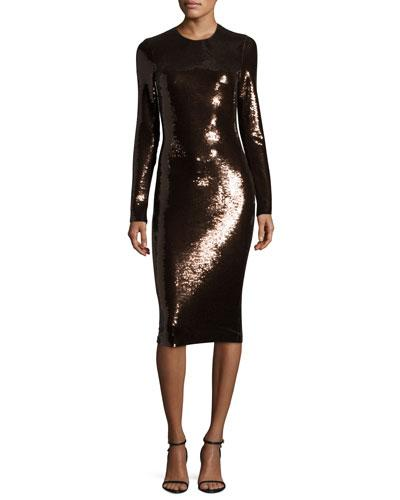Tom Ford Sequined Long-Sleeve Scoop-Neck Dress In Brown