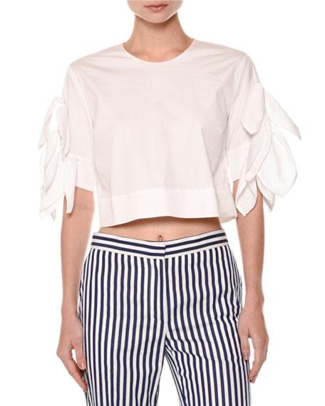 Msgm Ruffle-Sleeve Crop Top, White
