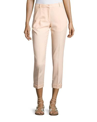 Carven Cropped Crepe Pants, Beige In Nude