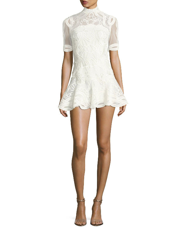 Jonathan Simkhai Truss Lace AppliquÉ Fit & Flare Mini Dress, White