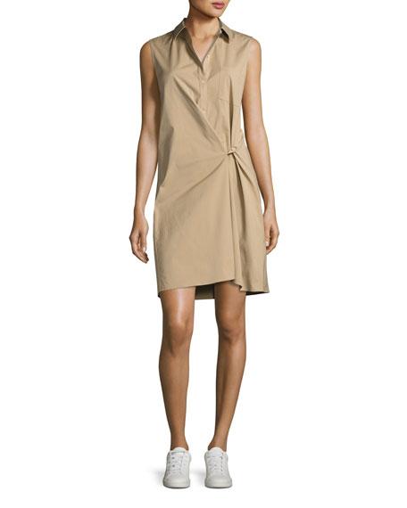 Theory Lenmana Stretch-Cotton Sleeveless Shirtdress, Beige