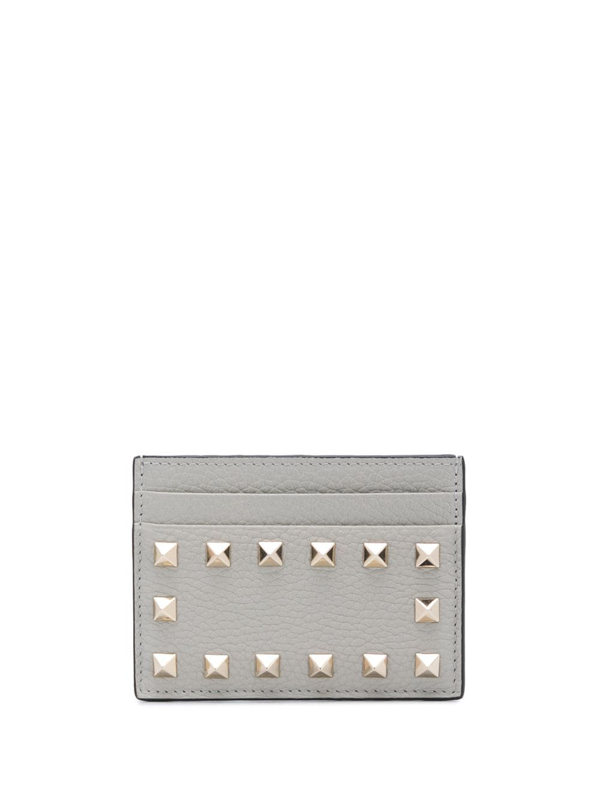 Valentino Garavani Rockstud Leather Cardholder In Grey