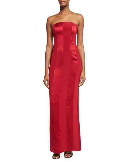Diane Von Furstenberg Tonal Satin-Stripe Strapless Tailored Gown, Red