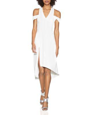 Halston Heritage Cold-shoulder Crepe Dress In Chalk