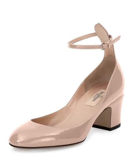 Valentino Tango Patent Ankle-Wrap Pump, Nude