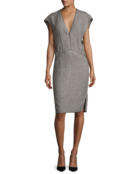 Narciso Rodriguez Cap-Sleeve Linen Sheath Dress With Binding, Gray In Gray Pattern