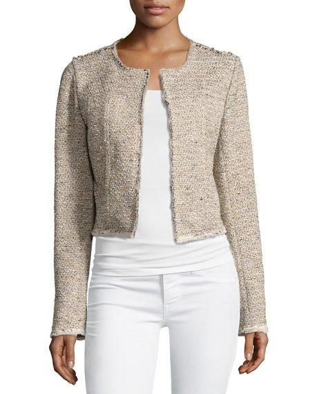 Theory Ualana Comprised Tweed Jacket, Beige