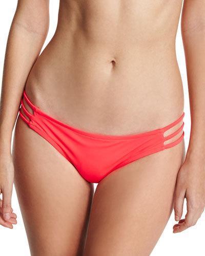 Milly Lanai Italian Solid Strappy Swim Bikini Bottom, Pink