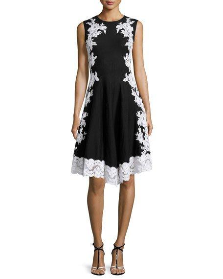 Oscar De La Renta Lace-Applique Fit-And-Flare Dress, Black/White, Black Pattern