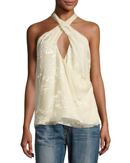 Haute Hippie Narcissus Flocked Floral Halter Top, Antique White