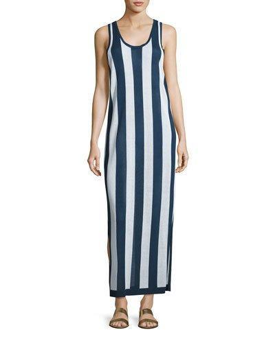 Diane Von Furstenberg Sleeveless Striped Maxi Coverup Dress, Navy/White In Eavy