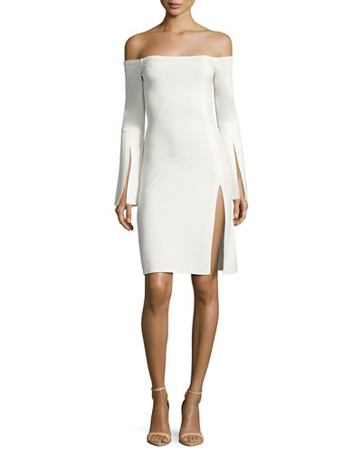 Alexis Sterre Off-The-Shoulder Slit Mini Dress In White