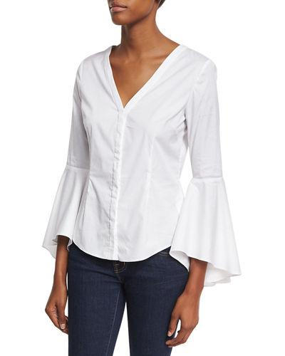 Milly Sofia Bell-Sleeve V-Neck Poplin Blouse In White