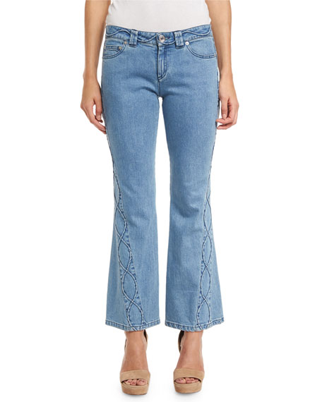 See By ChloÉ Embroidered Cropped Flare Jeans, Blue