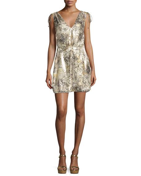 Haute Hippie The Follow Me Metallic Floral Dress, Gold Multicolor, Multi Pattern