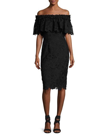 Badgley Mischka Off-The-Shoulder Floral Lace Popover Cocktail Dress, Black