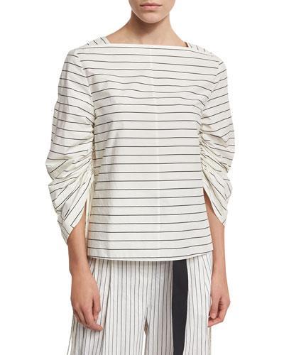 Tibi Striped Shirting Boat-Neck Top, White In White Pattern