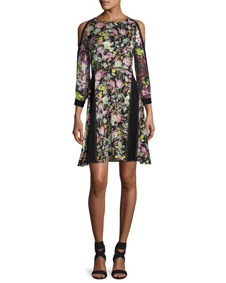 3.1 Phillip Lim Meadow Flower Cold-Shoulder Printed Silk-Crepe Dress In Multi Pattern