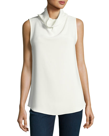Theory Axlie Elevate Crepe Cowl-Neck Button-Back Top In Optic White