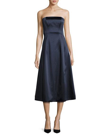 Diane Von Furstenberg Satin Strapless A-Line Midi Gown, Blue