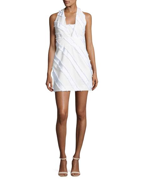 Milly Diagonal-Striped Halter Minidress, White