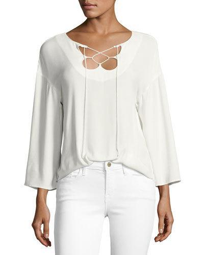 Frame Woman Mirrored Lace-Up Crepe Top White