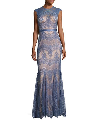Catherine Deane Cap-Sleeve Scalloped Floral Lace Evening Gown, Blue