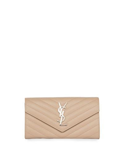 Saint Laurent Monogram Leather Large Flap Continental Wallet, 2618 Deep In Beige