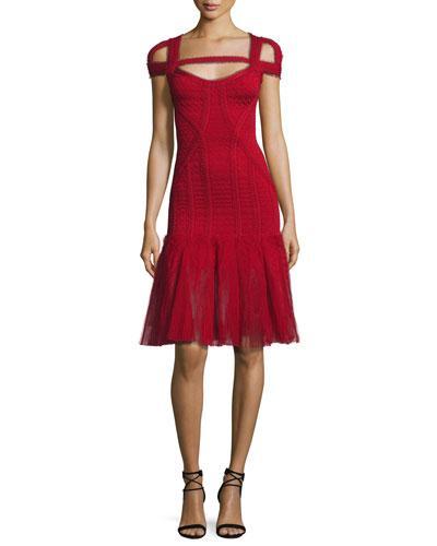 Herve Leger Lexi Cold-Shoulder Tulle-Skirt Bandage Dress, Red