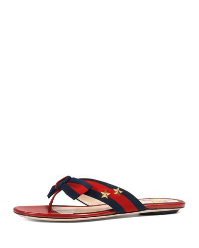 Gucci Studded Grosgrain Web Flat Thong Sandal, Black In Red