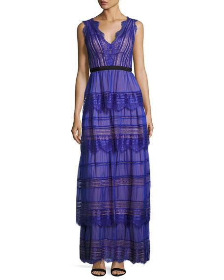Catherine Deane Woman Lace-Paneled Tiered Silk-Organza Maxi Dress Cobalt Blue