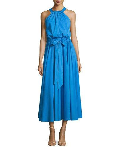Milly Lizzy Sleeveless Self-Tie Poplin Midi Dress, Blue