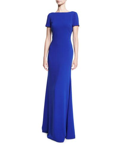 Badgley Mischka Short-Sleeve Stretch Crepe Gown, Electric Blue