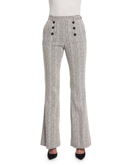 Carven Tweed High-Rise Flare Fantasy Pants, Marine/Ecru, Marine & Ecru
