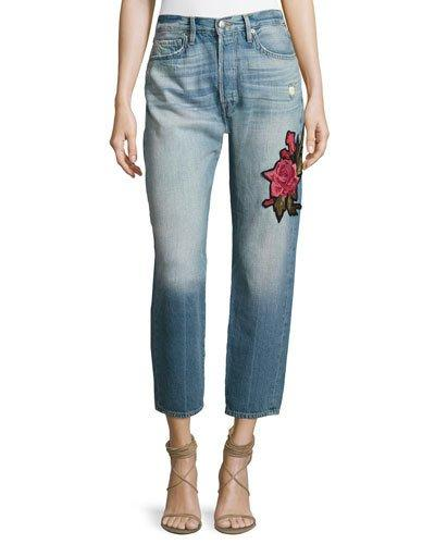 Frame Le Original Patch Jeans, Rose Lake In Blue