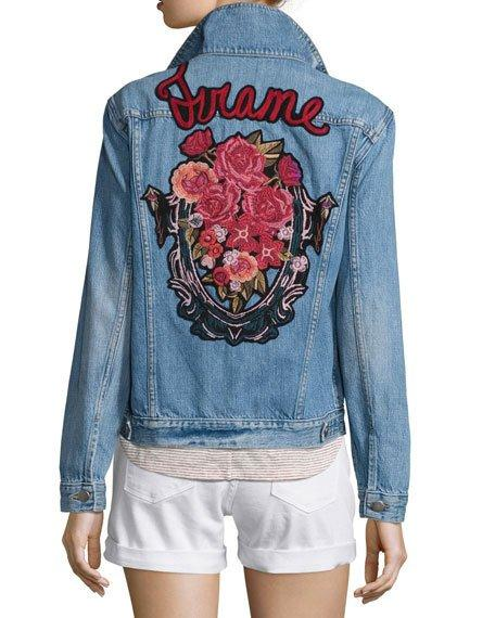 Frame Le Original Patch Jacket, Rose Water In Blue